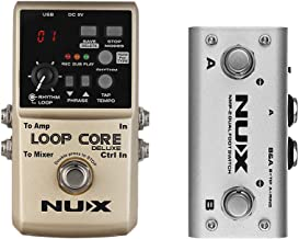 Muslady NUX LOOP CORE DELUXE 24-bit Looper Pedal with Dual Footswitch Pedal 8 Hours Recording Time Built-in 40 Drum Rhythms Tap Tempo Cab Simulation Functions True Bypass