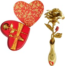 INTERNATIONAL GIFT 24K Gold Rose Stand with Beautiful Love Shape Packing (18 cm, Gold)