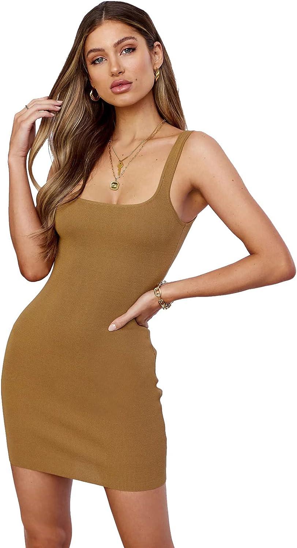 Carprinass Women's U Neck Tank Dress Basic Sexy Bodycon Mini Sheath Dresses
