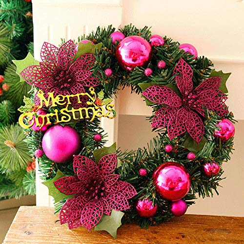 Guirnalda de la Puerta de Verano Guirnalda de Navidad Dense Pino Agujas Feliz Navidad Puerta de caña Adornos de Corona de otoño 30 cm Tienda Vida Duner (Color : Rose)