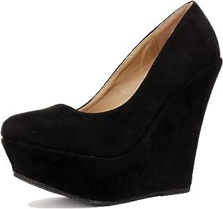 Delicacy Trendy-33 Slip On Platform High Heel Wedge Pump Shoes