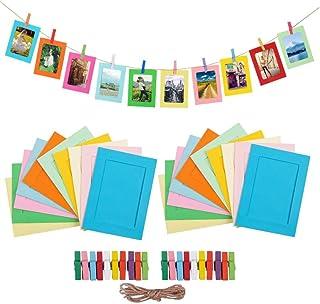 مجموعة اطارات صور ورقية بمشبك وحلقة خشبية - اطار لتعليق البوم الصور، طرد لديكورات الحفلات (متعددة الالوان)