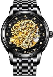 Weicam Men Boy Luxury Gold Dragon Carved Dial Diamond Automatic Skeleton Mechanical Watch Casual Waterproof Sport Wristwatch