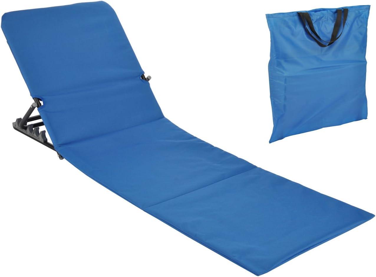 Spetebo Strandmatte faltbar mit Rückenlehne – gelb – Sonnenliege Strand Liege Matte Gartenliege