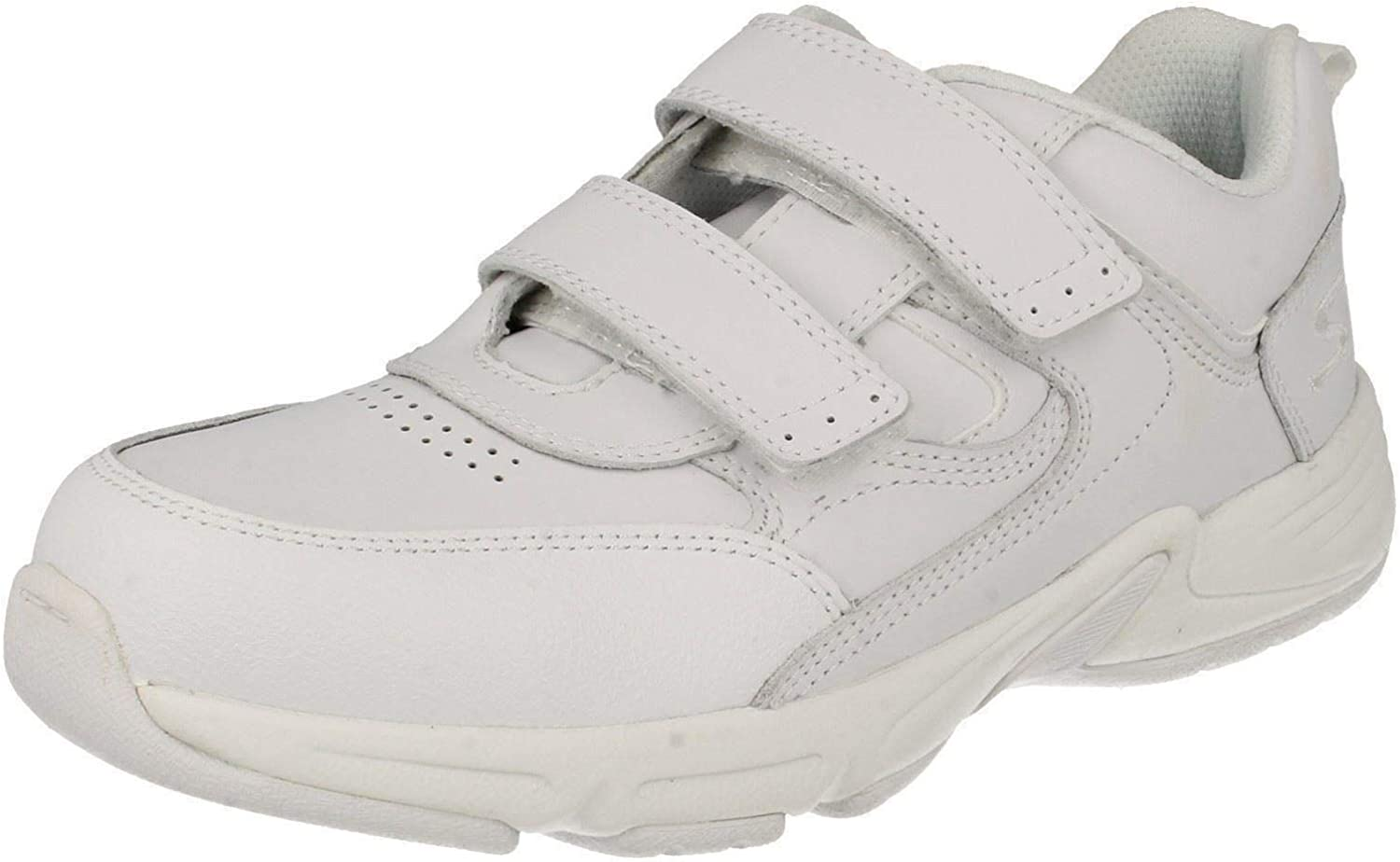 Meteor, White Leather Riptape Trainers G   1   White