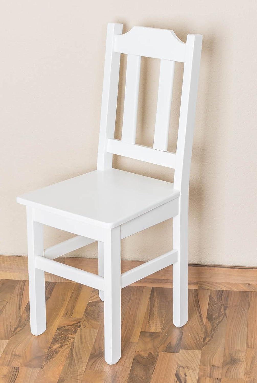 Stuhl Kiefer massiv Vollholz wei lackiert Junco 248- Abmessung 91 x 35 x 44 cm