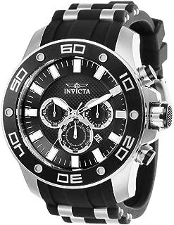 Invicta Men's Pro Diver Scuba Stainless Steel Quartz Watch with Silicone Strap, Black, 26 (Model: 26084)