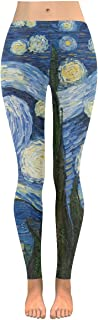 Custom Starry Night Painting Stretchy Capri Leggings Skinny Pants for Yoga Running Gym(2XS-5XL)