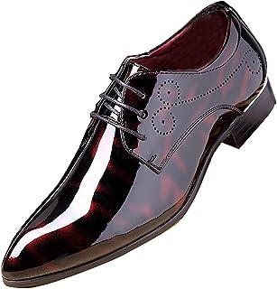 Sapato masculino fashion para negócios bico fino couro envernizado com cadarço Oxford preto marrom vermelho cinza