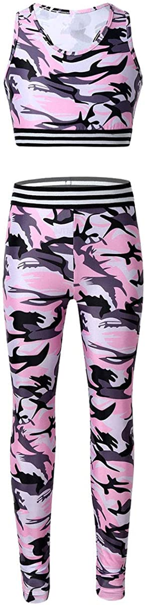 Yeahdor Kids Girls Tracksuit Outfit Gymnastic Workout Camouflage Racer Back Tank Crop Top with Sports Leggings Pants Set