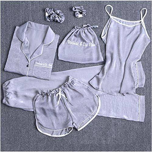generio Pijama de Mujer Pantalones Cortos Estampados Top de Manga Larga Cintura elástica Pantalones Full Lounge Ropa de Dormir