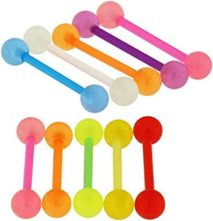 Straight Barbells 10 Pieces Set of UV Glow in the Dark Ball with 14 Gauge Bio Flexible Tongue Piercing