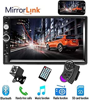 """CAMECHO 7"""" Double Din Car Stereo Audio Bluetooth MP5 Player USB FM Multimedia Radio+ 4 LED Mini Backup Camera with Steering Wheel Remote Support Mobile Phone Synchronization (Used in Android/iOS)"""
