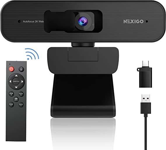 Zoom Certified, NexiGo N940P 2K Zoomable Webcam with Remote Control and Sony Starvis Sensor   AutoFocus   1080P@ 60FPS   3X Zoom in   Dual Stereo Microphone, for Zoom/Skype/Teams/Webex (Black)
