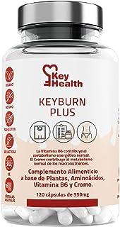 Key Health | Quemagrasas Potente KeyBurn | Complemento Alimenticio Termogénico para Adelgazar con L-Carnitina Guaraná Cafeína Te verde Vitamina B6 | 120 cápsulas | 2 Cápsulas al Día | Fat Burner