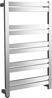 ANZZI Malibu 10-Bar Wall Mounted Towel Warmer in Polished Chrome | Energy Efficient 135W Electric Plug in Heated Towel Rack for Bathroom | Stainless Steel Quick Towel Heater Rail | TW-AZ065CH