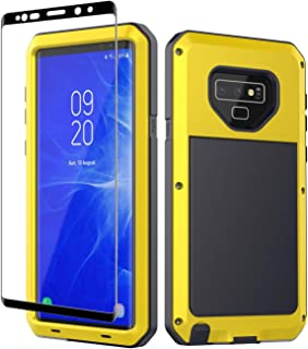 Galaxy Note 9 Case, Note 9 Heavy Duty Shockproof Hybrid Metal Silicone High Impact Rugged Case Tempered Glass Screen Protector [Full Screen Coverage] Samsung Galaxy Note 9 (Yellow)