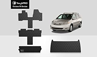 ToughPRO Floor Mats Full Set + Storage Compatible with Toyota Sienna (7 Passengers) - All Weather - Heavy Duty - (Made in USA) - Black Rubber - 2004, 2005, 2006, 2007, 2008, 2009, 2010