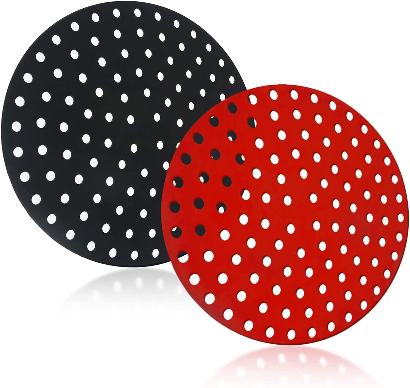 Cresater Silicone Air Fryer Liners, 8 Inch Round, Reusable Non-Stick Air Fryer Basket Mats, Air Fryer Accessories, BPA Free, 2-Pack