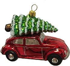 Pinnacle Peak Trading Company Red Volkswagen Beetle Car with Tree Polish Glass Christmas Ornament VW Bug