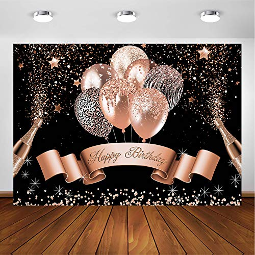 Avezano Glitter Balloon Birthday Backdrop for Girls Women Happy Birthday Party Banner Photography Background Black Silver Rose Gold Bday Party Photoshoot Decoration (7x5, Rose Gold and Black)