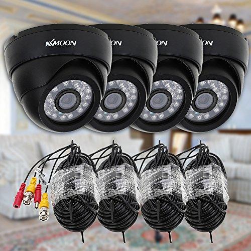 KKmoon 800TVL Cámara CCTV Kit de seguridad con 4piezas + 4pcs 60ft cable de vídeo infrarrojos sistema de vigilancia cámara de seguridad en casa, negro