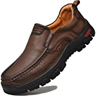 AlanVic Mens Walking Shoes Leather Lightweight Breathable Casual Slip On Loafers