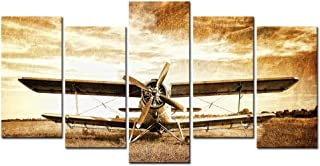 LevvArts - Old Biplane Canvas Art,5 Pieces Retro Plane Picture Print on Canvas Wall Painting for Living Room Wall Decoration,Vintage Style Artwork,Framed