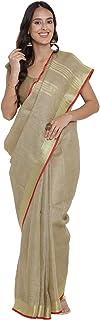 Black Orange Women's Woven Linen Saree With Blouse (BO.SR001_Gold)