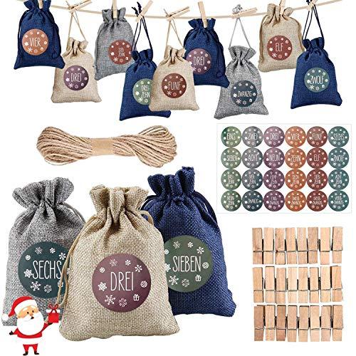 FUNNY HOUSE Adventskalender zum Befüllen Stoffbeutel, 24 Weihnachten Geschenksäckchen mit 1-24 Brief Aufkleber, Jutesäckchen, Natur Säckchen, Stoffbeutel, DIY Handwerk für Kinder