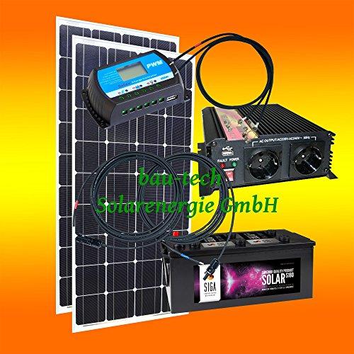 200 Watt Insel Solaranlage für Garten uvm. Komplett SET inklusive Montagematerial für Flachdach von bau-tech Solarenergie