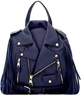 Moto Jacket Design Bike Vegan Leather Fringed Saddle Bag Fashion Backpack Purse