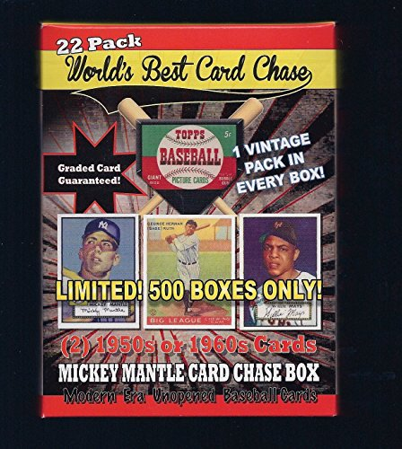1952 TOPPS MICKEY MANTLE ROOKIE CARD CHASE BOX 22 PACK LIMITED RUN 500 NEW 2 cards 50's or 60's 1 vintage wax pack GUARANTEED 1 graded