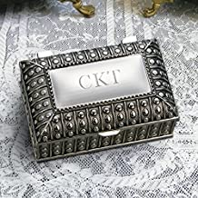 Center Gifts Silver Plated Rectangular Jewelry Box, Antique Custom Jewelry Box, Personalized Trinket Organizer | Engrave with Name | Trinket to Store Earring, Ring, Necklace