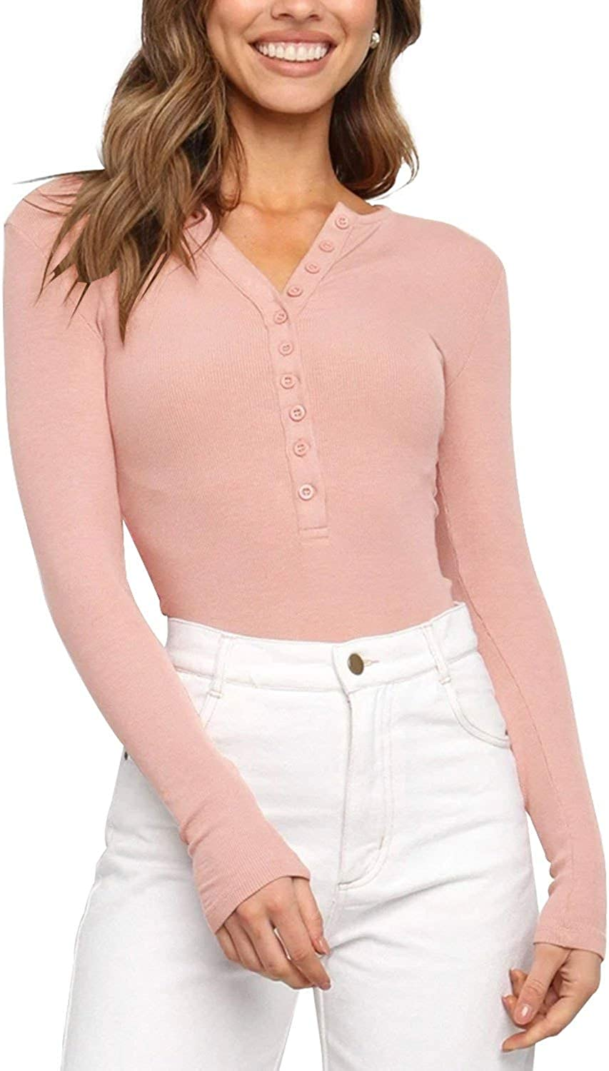 REORIA Women's V Neck Long Sleeve Button Down Henley Shirt Ribbed Knit Leotards Bodysuits Tops