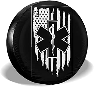 "Ginu American Flag EMS Star of Life EMT Paramedic Medic Tire Covers Waterproof Tire Protectors Tire Covers Fits 14"" to 17"""