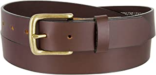 Mens Solid Piece Genuine Leather Casual Dress Belt In Black Or Brown Made In USA