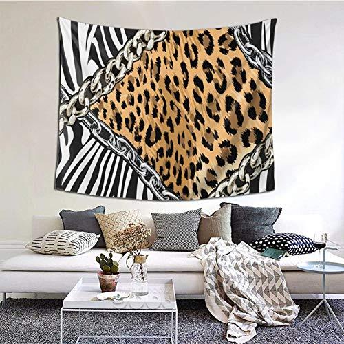 ZVEZVI Tapiz de eslabones de Cadena de Piel de Leopardo de Cebra sin Costuras, Arte de Pared para Sala de Estar, Dormitorio, Dormitorio, decoración 60ʺ × 51ʺ