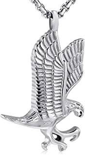 Pet Cremation Jewelry for Ashes Stainless Steel Eagle Memorial Urn Necklace Men Keepsake Pendant