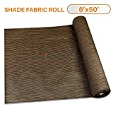 TANG Sunshades Depot 6'x50' Shade Cloth Brown Fabric Roll Up to 95% Blockage UV Resistant Mesh Net for Outdoor Backyard Garden Plant Barn Greenhouse Weddings Placemat Crafts Decorate Swing