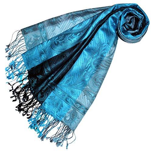 Lorenzo Cana Luxus Pashmina Damenschal Schaltuch jacquardgewebt 100% Seide 70 cm x 190 cm Paisleymuster tuerkis blau Seidenschal Seidentuch Seidenpashmina harmonische Farben 78174