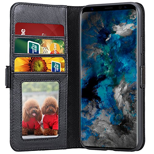 Galaxy S9 Wallet Case, Lopie [All-in-one Series] Flip Leather Folio Case Cover with Kickstand Feature Credit Card Slots and Magnetic Closure Design for Samsung Galaxy S9 - Black