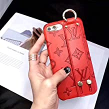 iPhone XR Case, Classic Monogram Vintage Style Elegant Luxury Fashion Designer Case with Phone Holder Strap Cover iPhone XR - Red