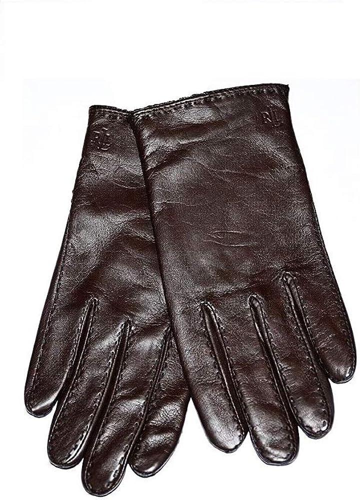 LAUREN Ralph Lauren Ladies Leather Gloves Winter Snow Driving Brown