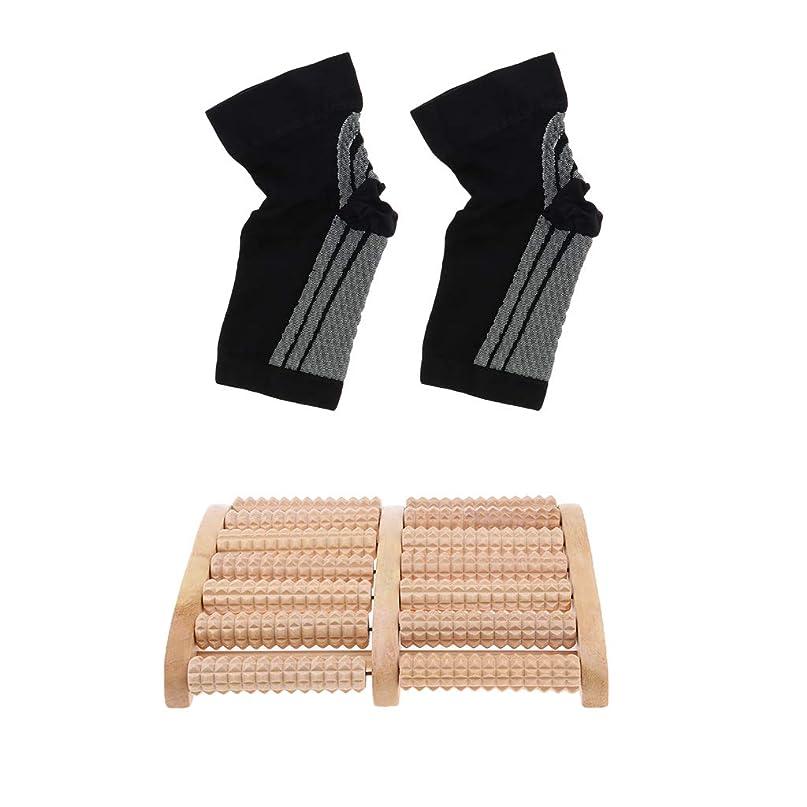 することになっている百年年金dailymall 痛みのストレスリリーフ+足首圧縮ソックスの木製ローラーフットマッサージャー