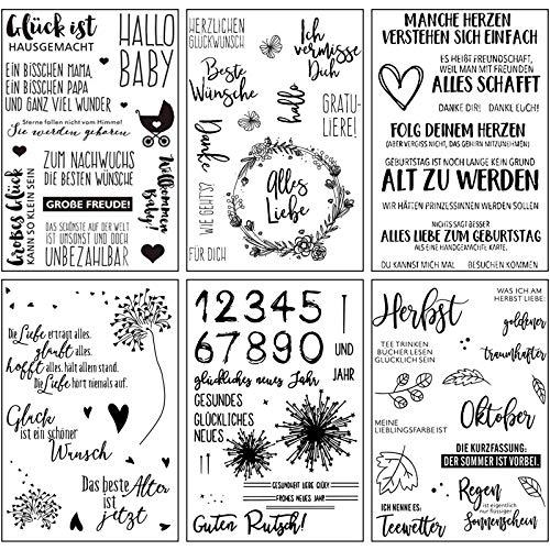 ESHOWEE Silikonstempel Deutsche Texte Set,6 Blätter Deutsch Stempel Silikon Set,Clear Stamps für DIY Bullet Journal Scrapbooking Fotoalbum