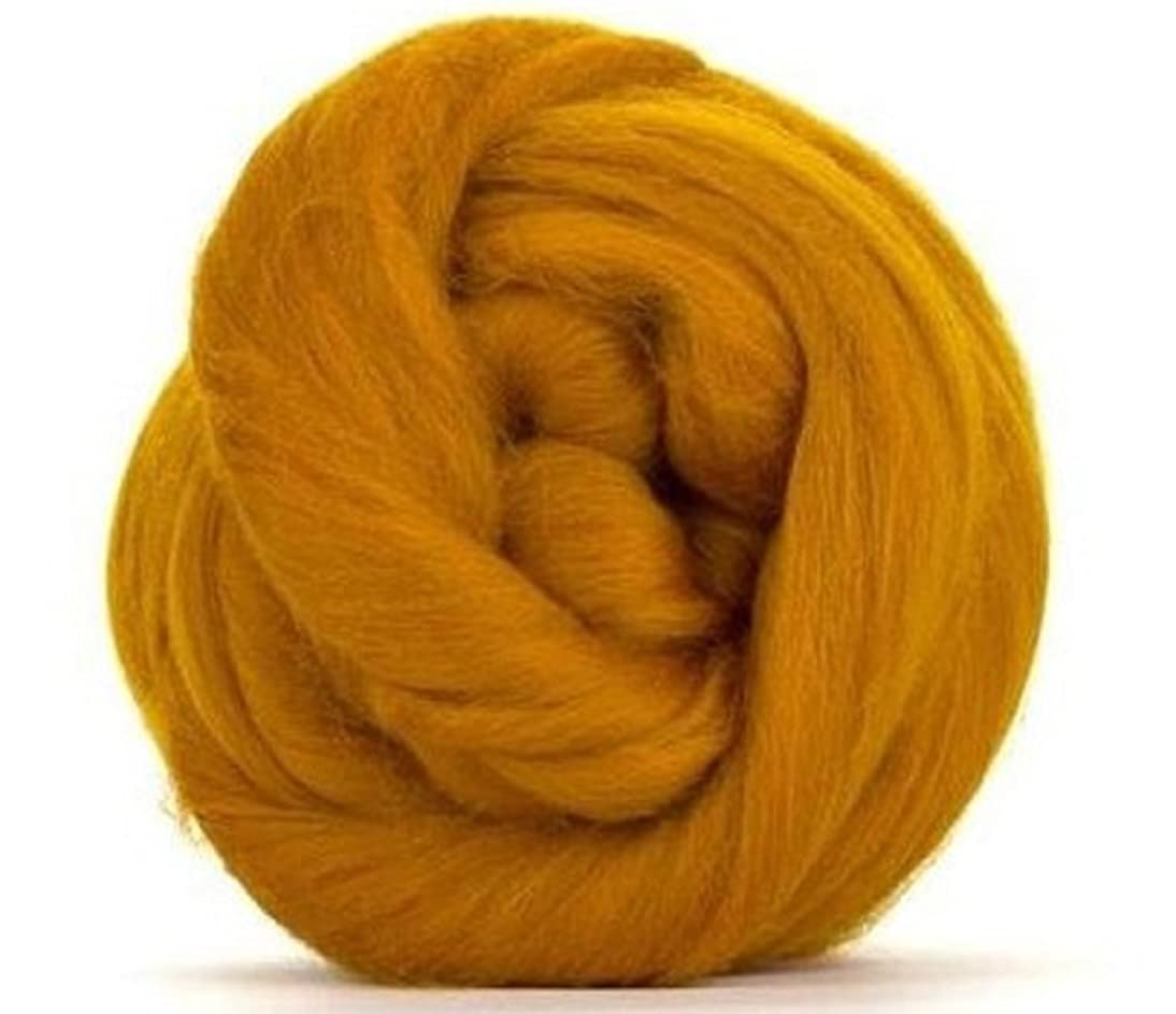 4 oz Paradise Fibers 64 Count Dyed Amber (Yellow) Merino Top Spinning Fiber Luxuriously Soft Wool Top Roving for Spinning with Spindle or Wheel, Felting, Blending and Weaving