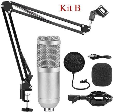 NanYin BM 800 Studio Microfono per Microfono da Karaoke Computer, Kit Microfono Professionale a condensatore con Asta microfonica Studio Mikrofon (Color : Silver Kits B) - Trova i prezzi più bassi