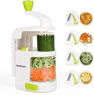 Sedhoom Coupe légumes Spirale ménager avec 4 Lames, Foldable Spiraliseur de légumes,légumes,Julienne Nouilles,courgettes,c...