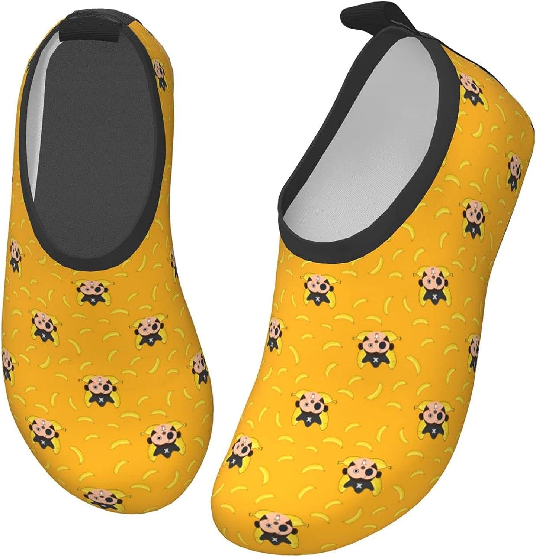 Jedenkuku Yellow Cute Banana Monkey Cartoon Children's Water Shoes Feel Barefoot for Swimming Beach Boating Surfing Yoga